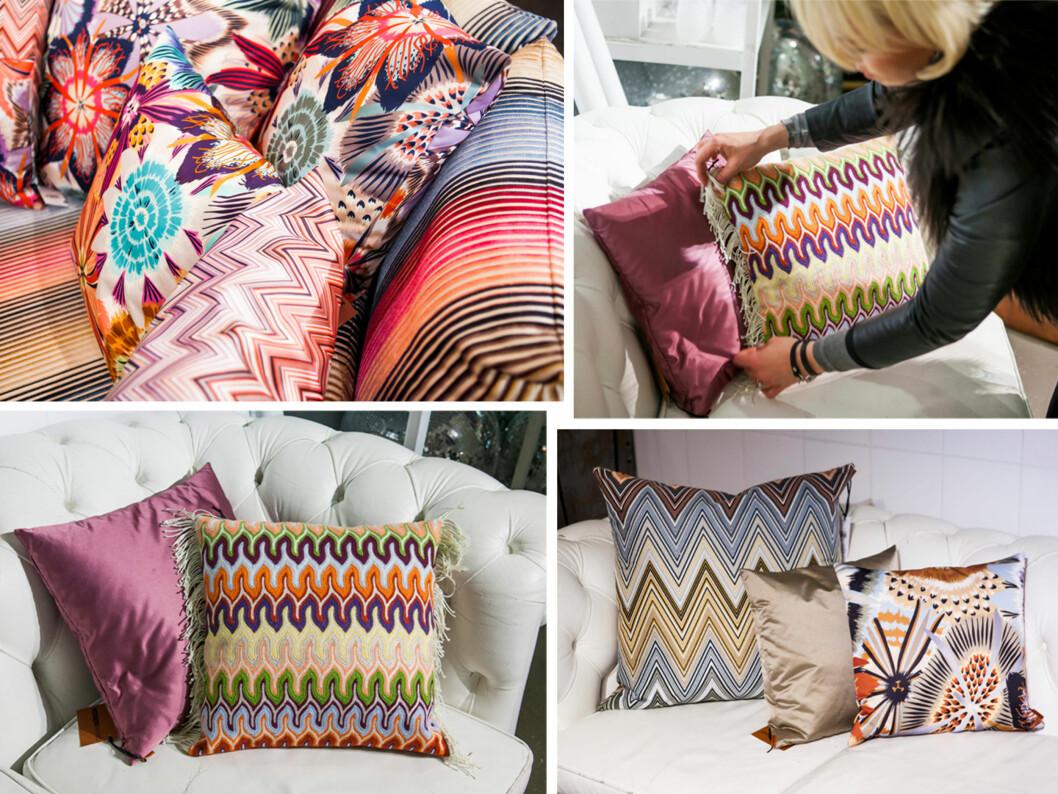 GJØR STOR FORSKJELL: Et bytte av sofaputer er alt som skal til for å få en ny sofa. Når du bruker sterke mønster og farger kan det imidlertid være lurt å kombinere med en nøytral farge. Foto: Per Ervland