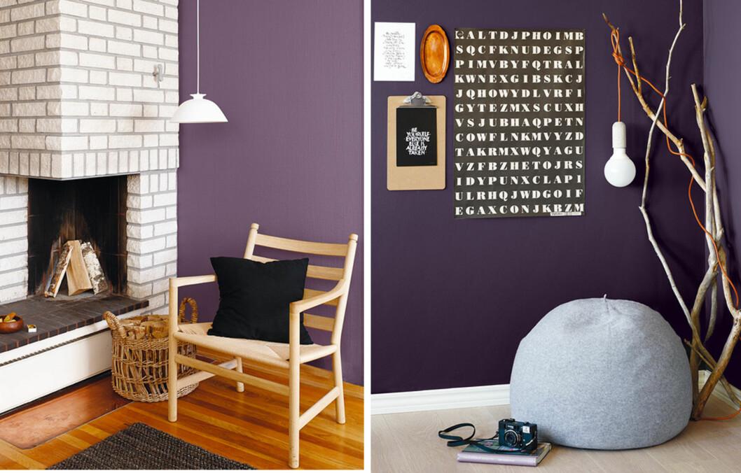 GÅ FOR LILLA: Hvis du er ute etter lek og moro på soverommet, bør du ifølge Dagny Thurmann-Hoelseth, male det lilla. Foto: Fargerike