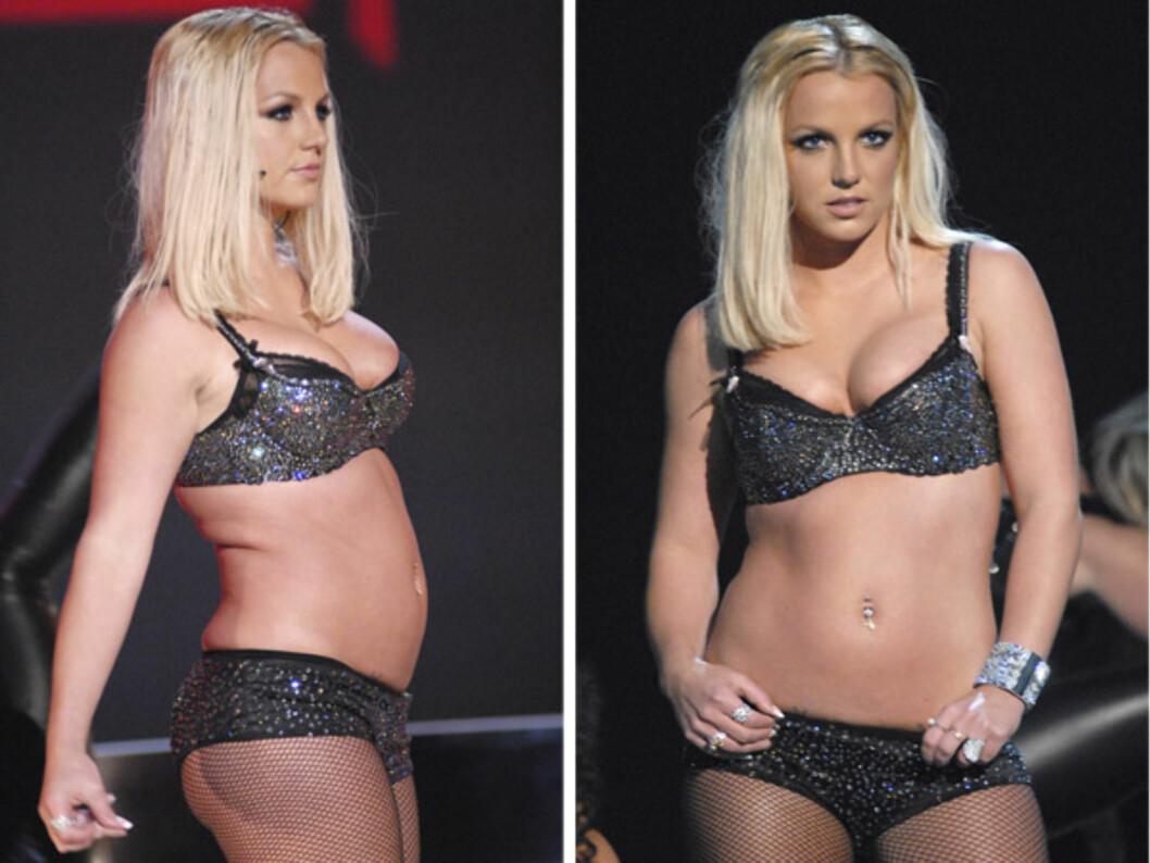 OPP OG NED: Britney har gått opp og ned i vekt, men antrekkene har holdt seg små hele veien. Foto: All Over Press