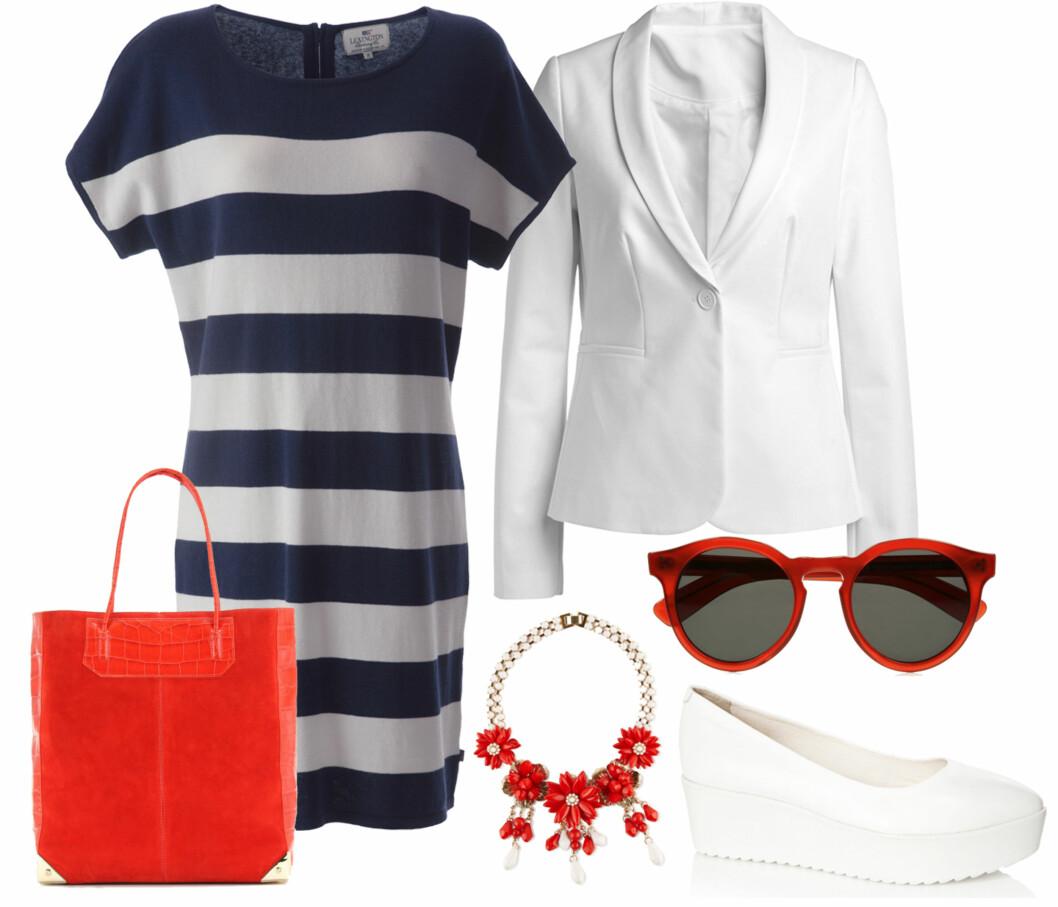 kr 1695 lexington blazer kr 500 ellos røde solbriller (kr 2050, Illesteva/Net-a-porter.com) kjede med røde blomster (kr 200, Aldo)hvite sko (kr 600, Bianco) rød veske til luksuspris (kr 6300, Alexander Wang).