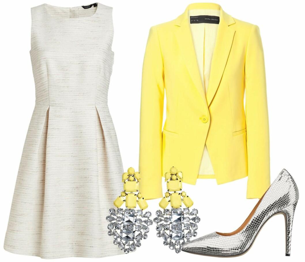 LYS OPP I SITRONGULT: Hvit kjole i vintagestil (kr 200, Lindex), sitrongul blazer (kr 600, Zara), statementøredobber (fra By Malene Birger) og sølvpumps (kr 2300, Inwear). Foto: Produsenter