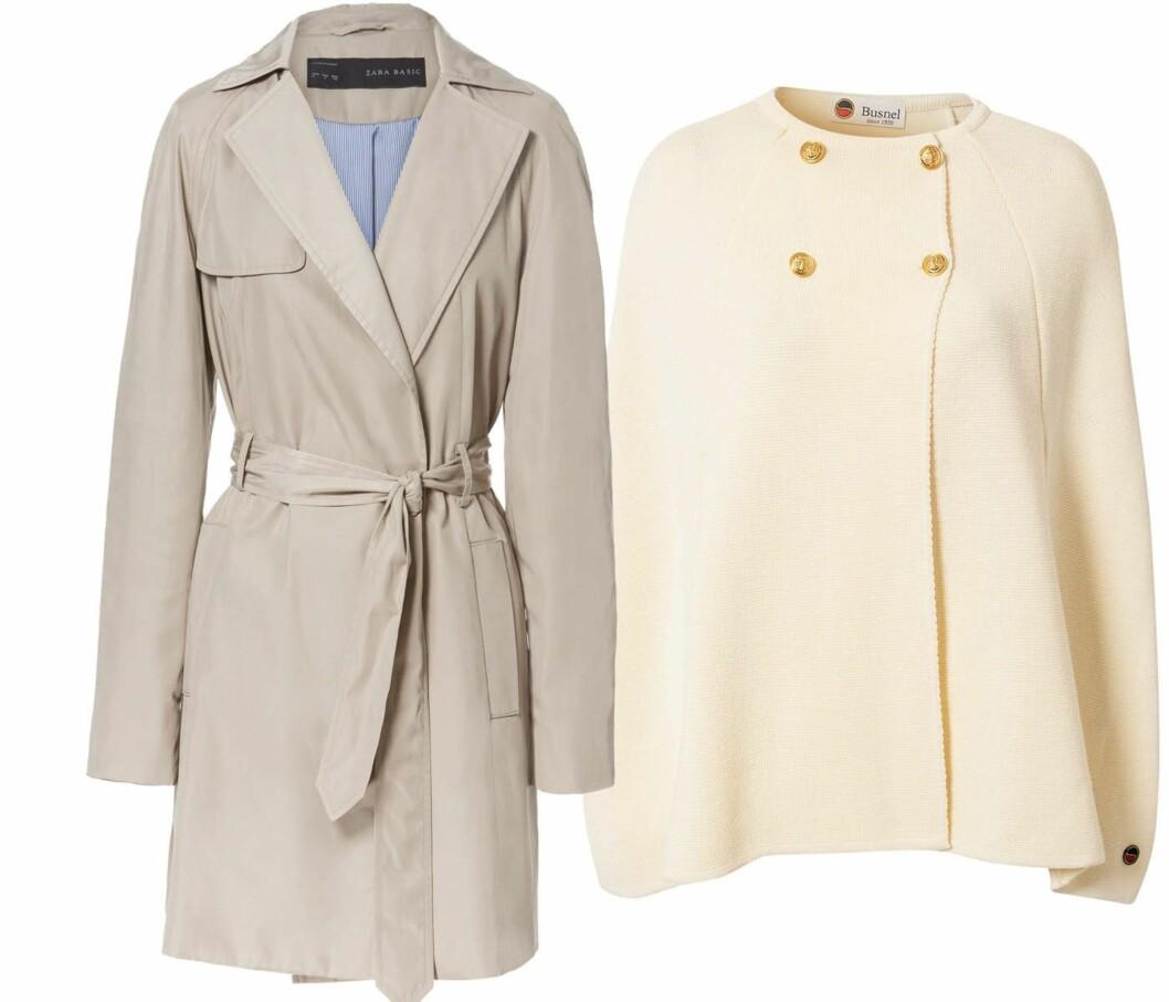 HOLD VARMEN MED STIL: Lekker lys trenchcoat (kr 700, Zara) og ullcape med gullknapper (kr 3695, Busnel/Nelly.com). Foto: Produsenter