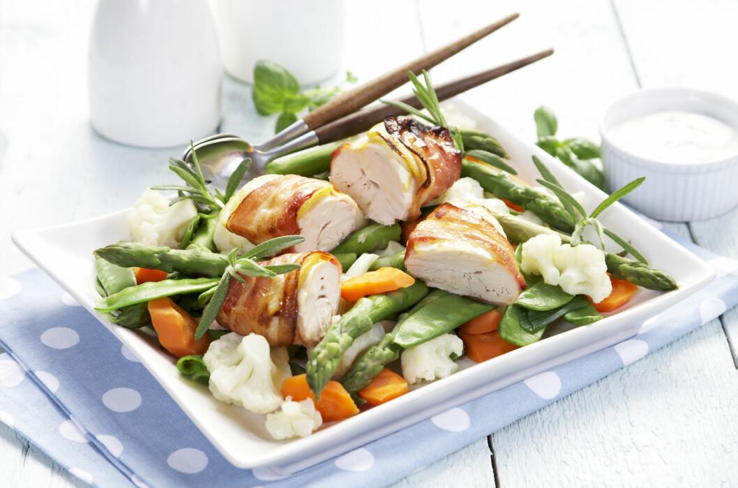 <strong>IKKE GLEM PROTEINER:</strong> Sunne proteinkilder er gjerne magre kjøttyper som kylling, kalkun og svin. Mager kjøttdeig eller renskåret oksekjøtt er også bra. Foto: All Over Press