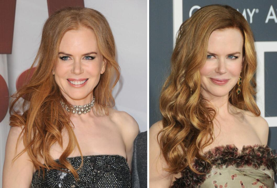 <strong>SATS PÅ NATURLIG:</strong> Nicole Kidman ser eldre ut med hjelmfarget hår. Mye bedre blir det med hår i naturlige fargenyanser med solstriper. Foto: All Over Press