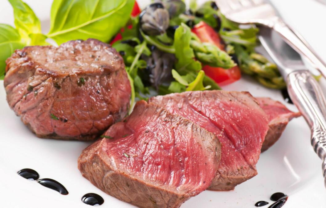KUTT NED PÅ RØDT KJØTT: En ny studie viser at en ingrediens i rødt kjøtt kalt l-karnitin, i stor grad påvirker risikoen din for hjertesykdom. Foto: Thinkstock