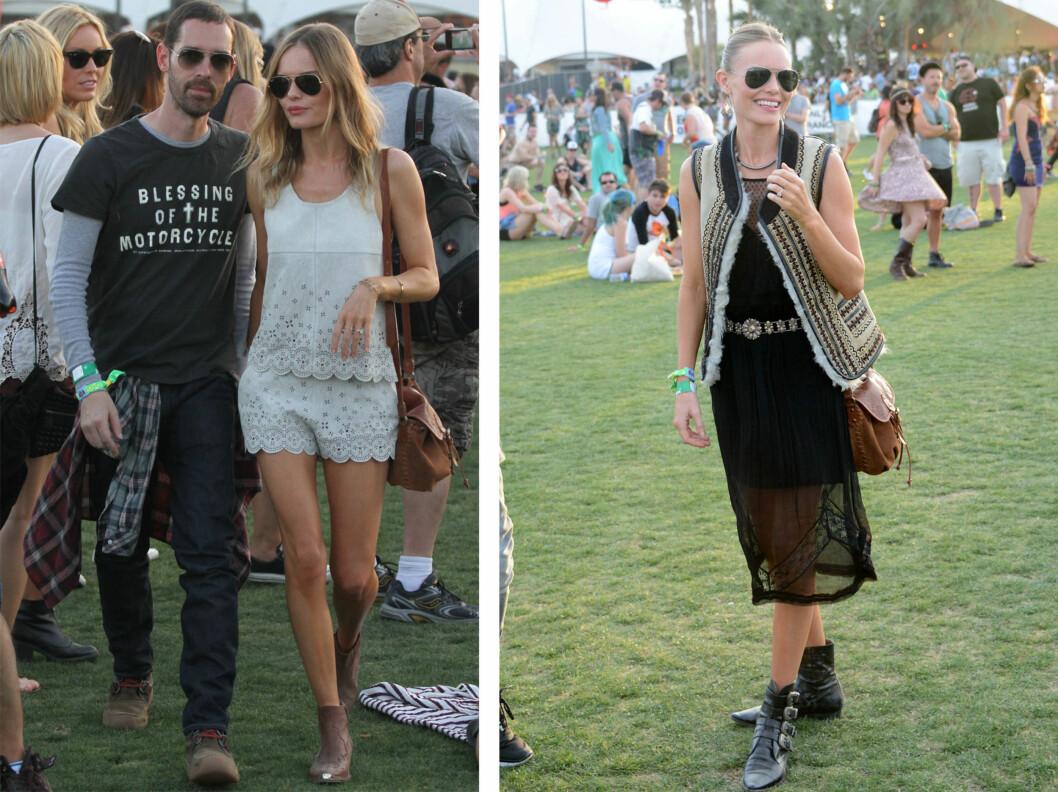 FLERE ANTREKK: Kate Bosworth var også en av festivalens best kledde. Her er hun med regissørkjæresten Michael Polish.  Foto: All Over Press