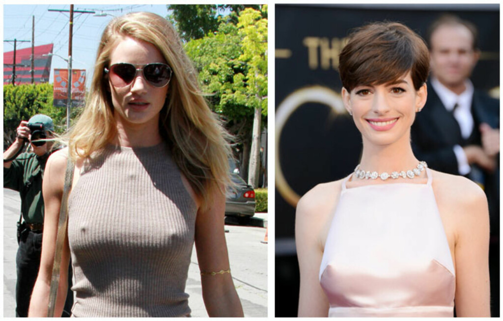 BRYSTVORTE-FANS: Rosie Huntington-Whiteley og Anne Hathaway er begge glade i å vise frem sine brystvorter. Foto: All Over Press