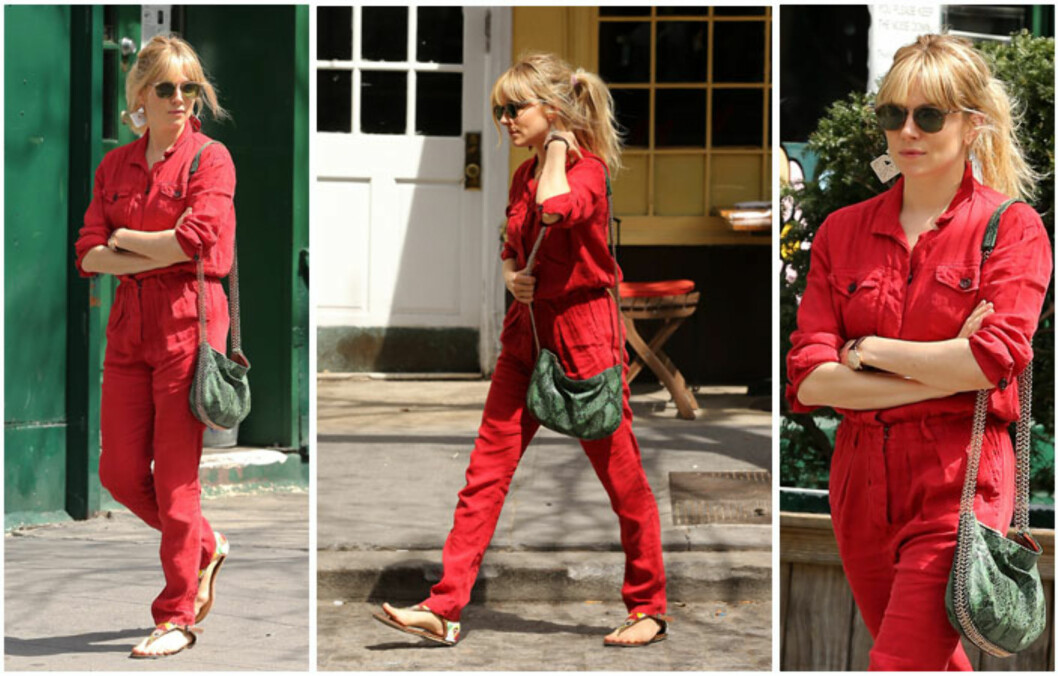 RUSSEDRAKT? Moteikonet Sienna Miller ble nylig observert i en rød kjeledress på gata i New York. Foto: All Over Press