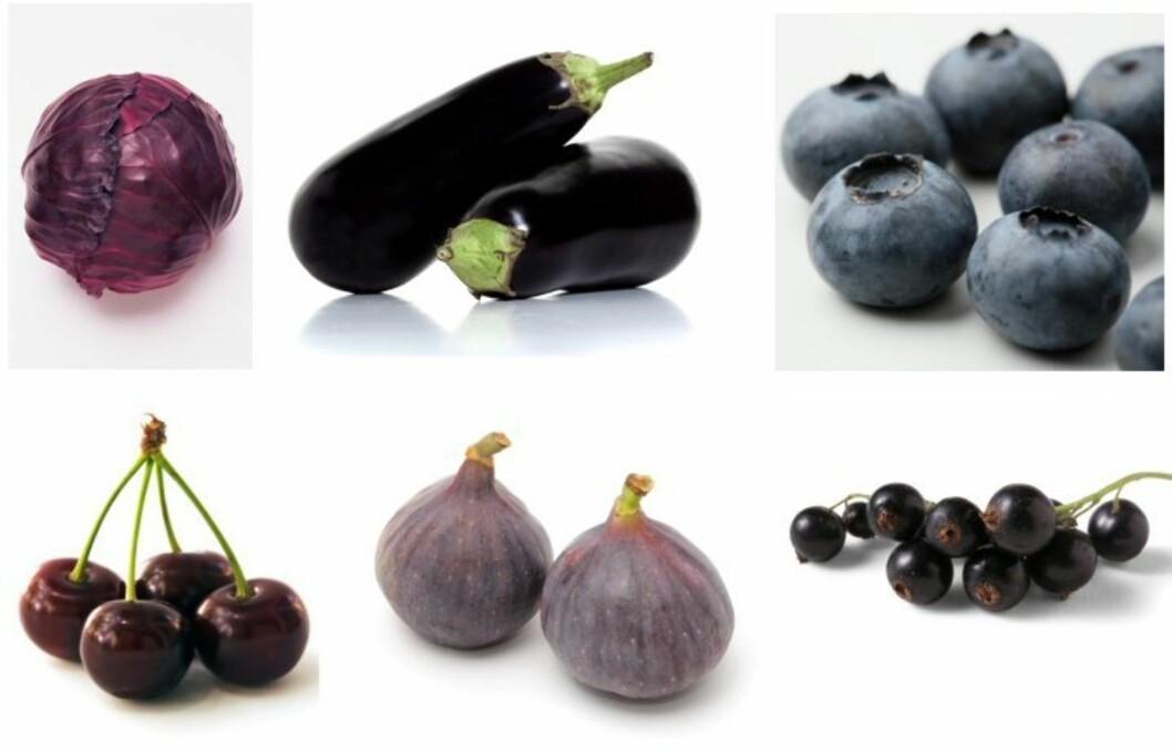 IKKE BARE PÅ VEGGEN: Lilla skal det være på tallerkenen også. Matvarer som rødløk, aubergin, moreller og blåbær er supre for kroppen og helsen din.  Foto: Colourbox
