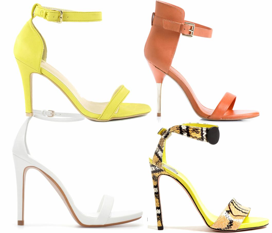 HØY WOW-FAKTOR: I sitrongult (kr 350, NLY), oransje (kr 800, Mango), i hvitt (kr 560, Zara) og med slangeprint (kr 4445, Sw1/my-wardrobe-com). Foto: Produsenter