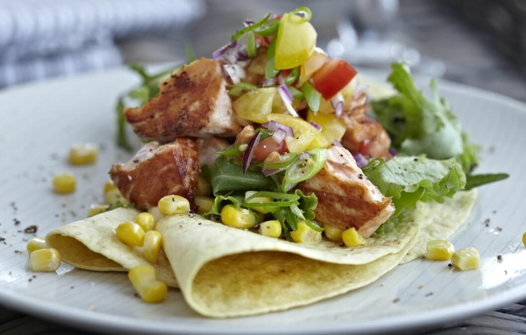 FISKETACO: Passer perferkt for deg som er lei av kjøttdeig og vil prøve noe nytt til tacoen.  Foto: All Over Press