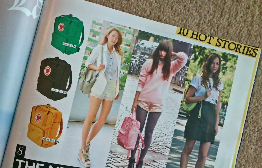 """NY IT-BAG: Fjällrevens """"Kånken""""-sekk har - som du ser fra britiske Grazia Magazine, den nye """"it""""-baggen.  Foto: Faksimile Grazia Magazine"""