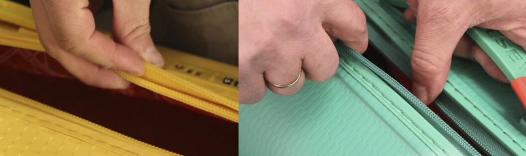 TYVERISIKKER: Til venstre ser du patentkofferten med to glidelåser som forhindrer tyveri fra bagasjen. Til høyre ser du en standardkoffert som er enkel å åpne å lukke, selv om den er låst med hengelås.  Foto: Benedicte Haugaard
