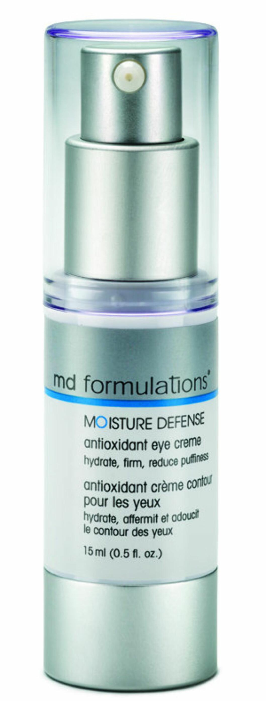 Effektiv krem som beskytter og gir masse fukt (kr 700, Md Formulation, Moisture Defense Antioxidant Eye Cream).