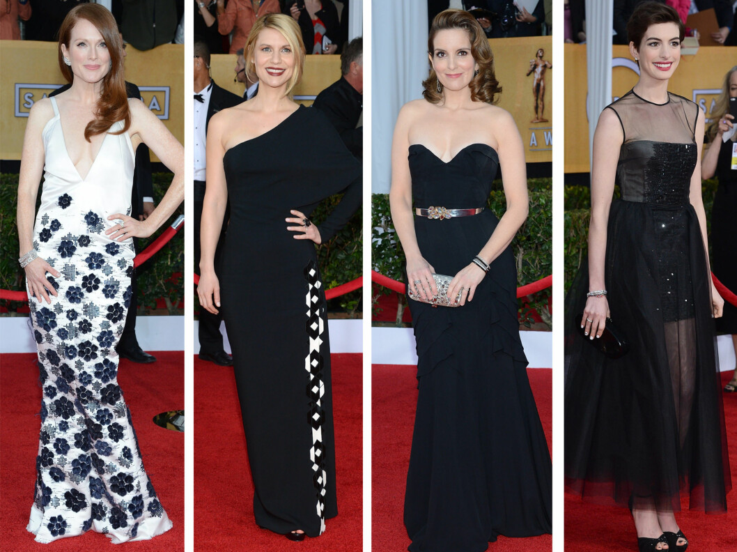 <strong>FLOTTE:</strong> Julianne Moore bar sin utfordrende kjole flott, mens svart var en tydelig trend - fra venstre Claire Danes, Tina Fey og Anne Hathaway.  Foto: All Over Press