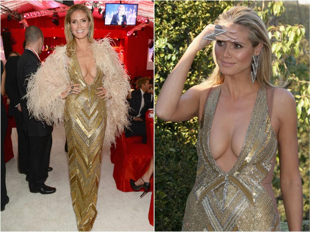 BILLIG UTRINGNING: Heidi Klums kjole hadde vært fantastisk, hadde det ikke vært for den vulgære utringningen. Noen ganger blir det litt for mye pupp ...    Foto: All Over Press