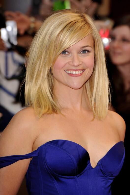 HJERTEFORMET ANSIKT: Reese Witherspoon har et typisk hjerteformet ansikt. Velg en tynn, avrundet eller kantet innfatning. Foto: All Over Press
