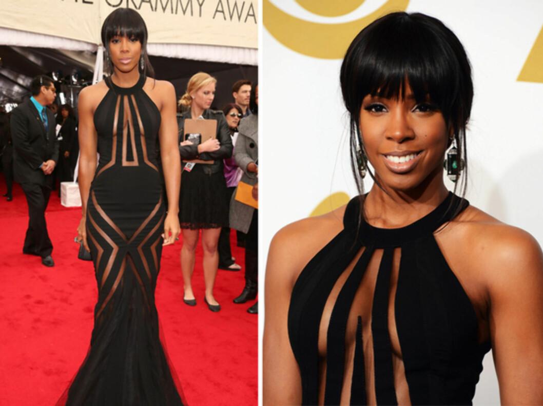 <strong>PÅ RØD LØPER:</strong> Kelly Rowland kom i kjole fra Georges Chakra Couture på Grammy Awards. Foto: All Over Press