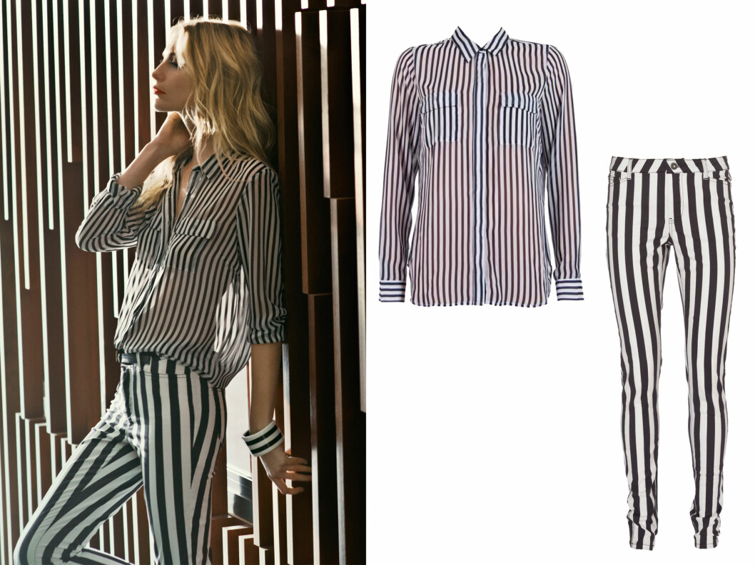 STRIPER ER HOT: Denne sesongen er svarte og hvite striper noe av det hotteste du kan kle deg i. Både skjorten (179,95 kr) og buksen (399,95 kr) er i butikkene nå.  Foto: Vero Moda