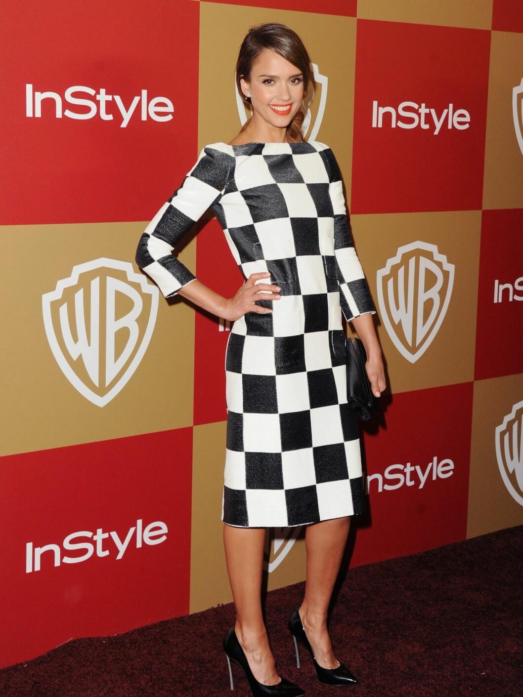 Jessica Alba på InStyle And Warner Bros. Golden Globe Party 13. januar.  Foto: All Over Press