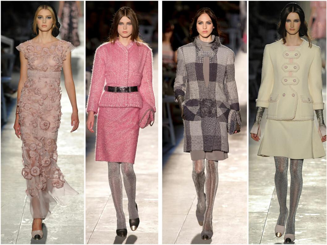 <strong>STOR TREND:</strong> Når Chanel kler opp alle modellene i lave sko med metalltupp, da blir det en trend. Bildene er tatt fra Chanels Haute Couture-visning. Foto: All Over Press