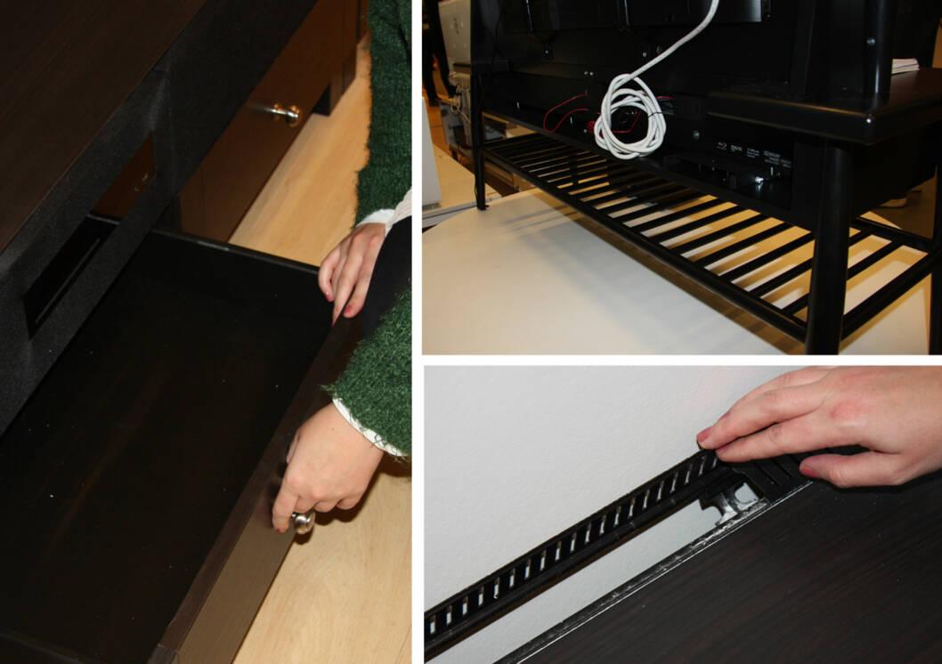 SKJULTE LEDNINGER OG OPPBEVARINGSPLASS: TV-løsningen UPPLEVA har gode mulugheter for å skjule ledningene, og har i tillegg plass til DVD-spiller og andre ting.  Foto: Tone Ruud Engen