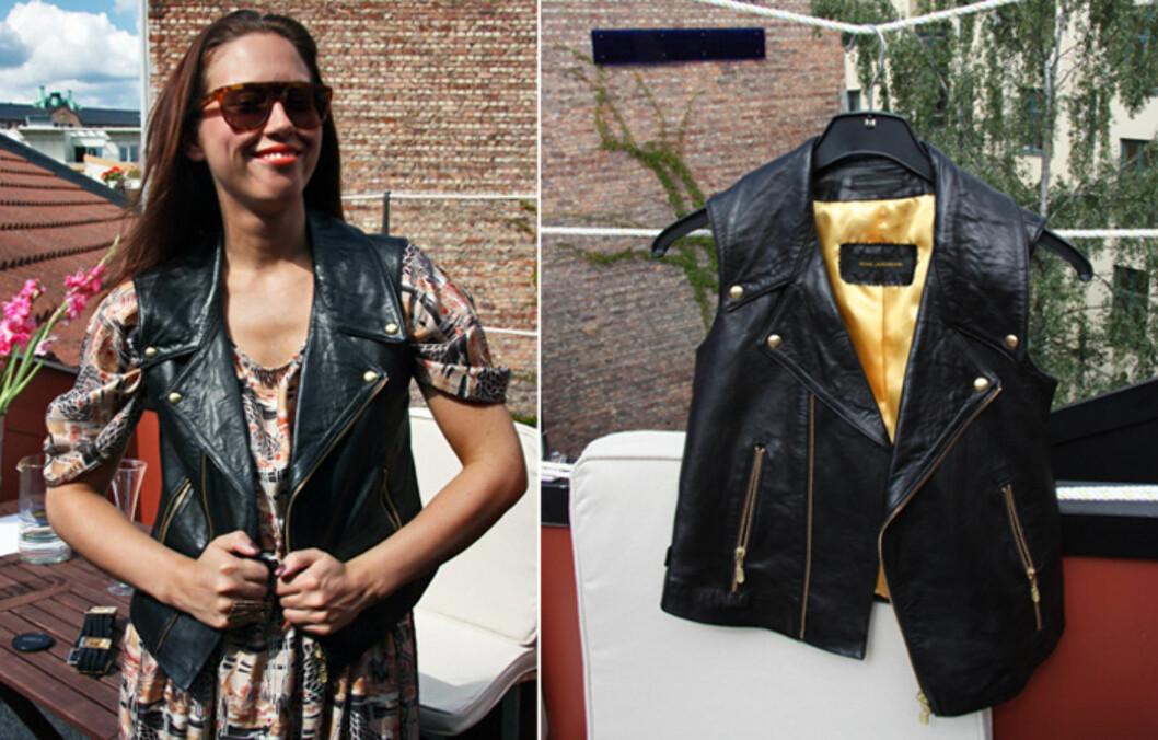 FAVORITTPLAGG: Designer Nina Jarebrink er blant dem som sverger til skinnvesten- både sommer og vinter.  Foto: Tone Ra Pedersen