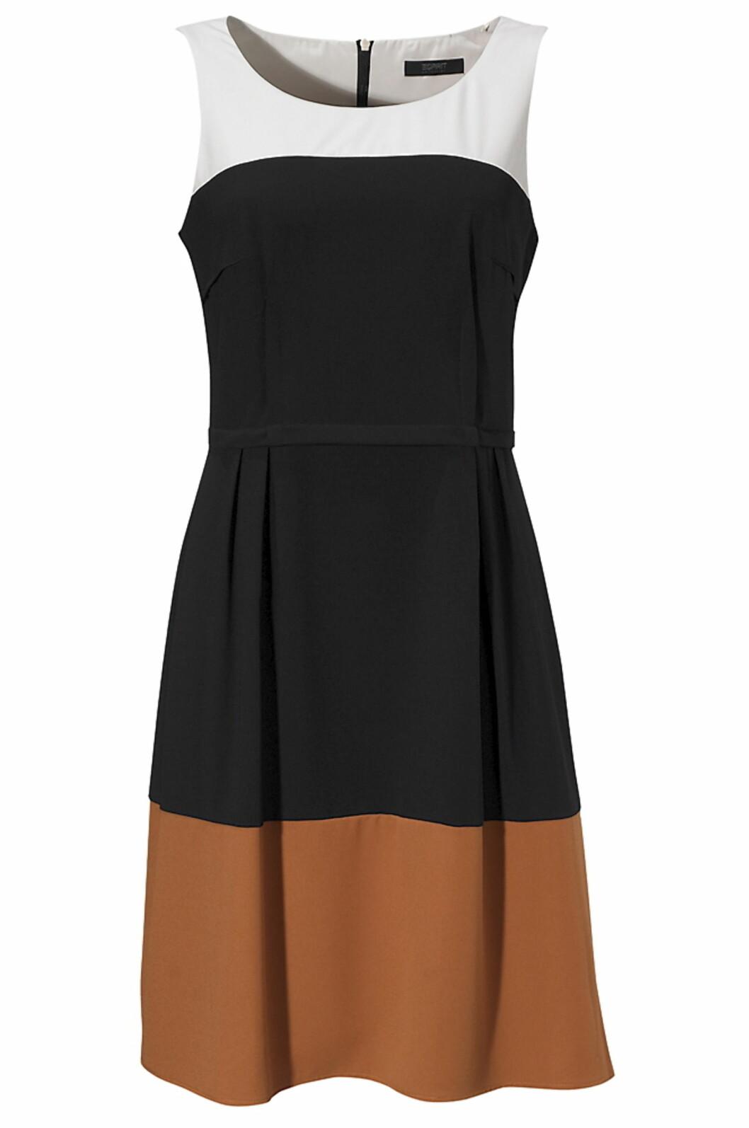 Flerfarget kjole med fint snitt fra Esprit (kr 799/ellos.no). Foto: Produsent
