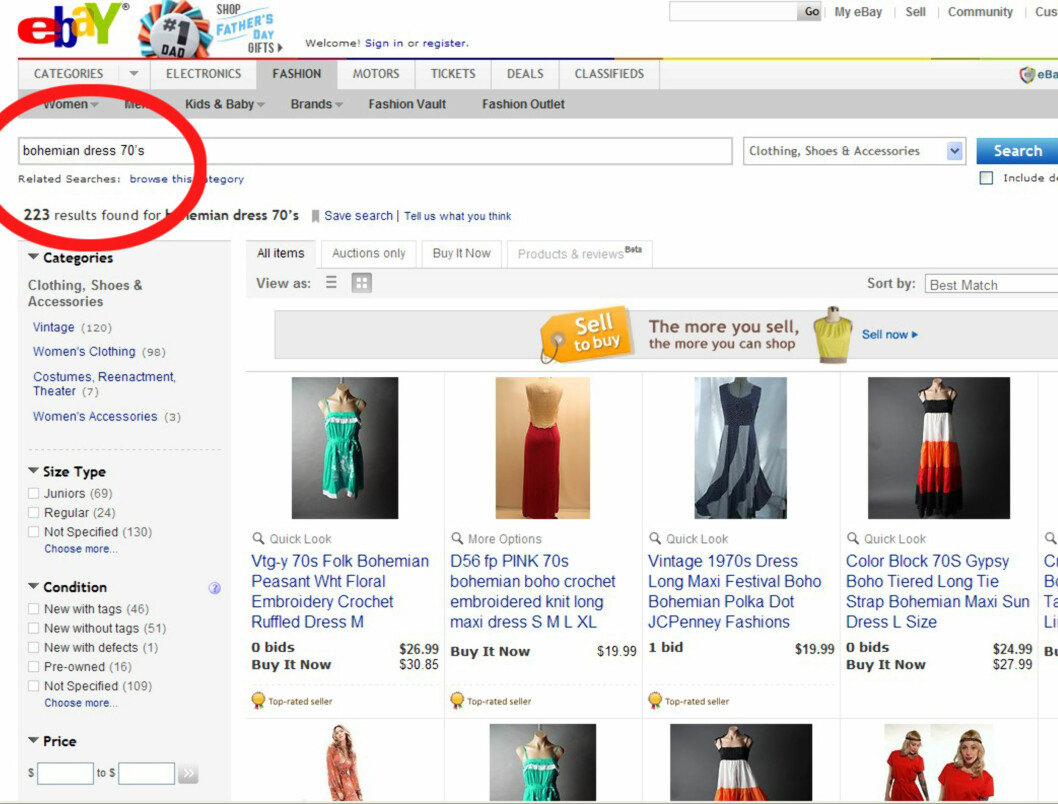 SPESIFISER SØKET: Vær mer nøye med valg av søkeord. Leter du etter en hippieinspirert 70-tallskjole, så skriv det inn i søkemotoren.  Foto: Faksimile Ebay.com