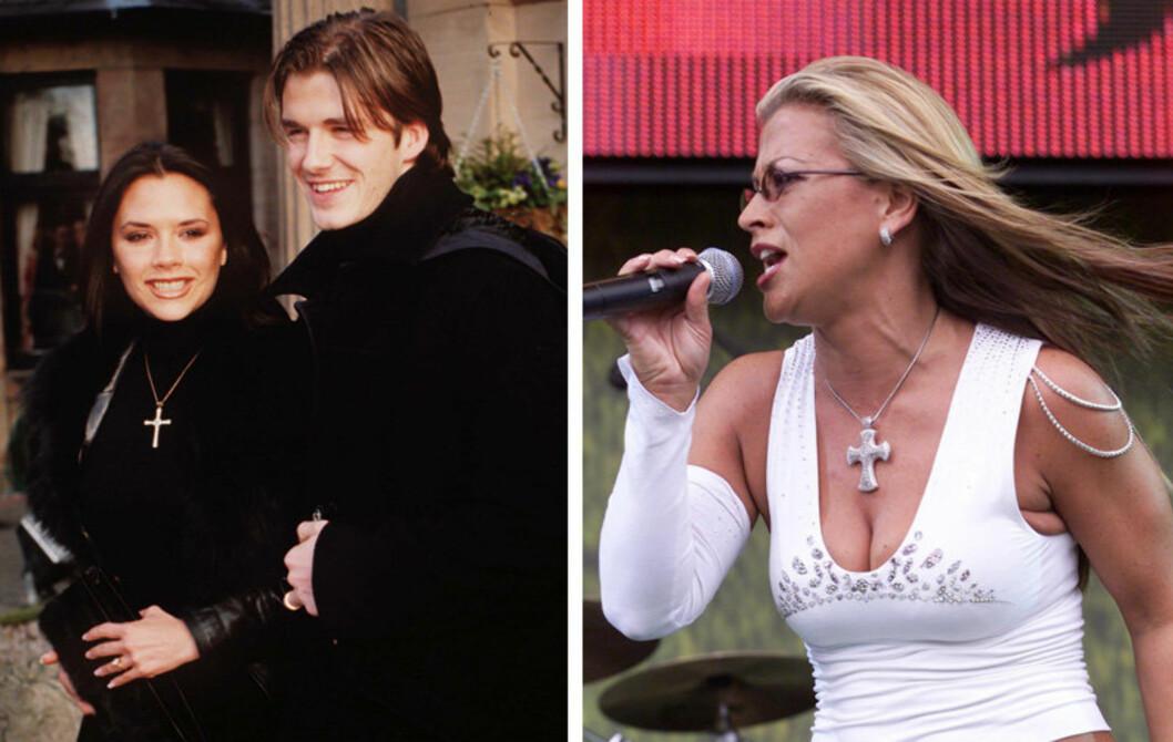 KORSET FØR: «Posh Spice» aka Victoria Beckham brukte korskjedet til svarte, stramme høyhalsere, mens Anastacia kombinerte med magekort tanktopp og solbriller. I 2012 er bruken litt annerledes. Foto: All Over Press