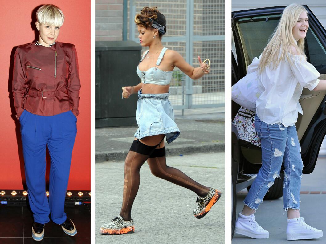 FAN AV FLATFORM: Popstjernene Robyn og Rihanna har lenge sverget til sneaker-inspirerte flatforms, mens skuespiller Elle Fanning liker de mer basketlignende tøyskovariantene med platå. Foto: All Over Press