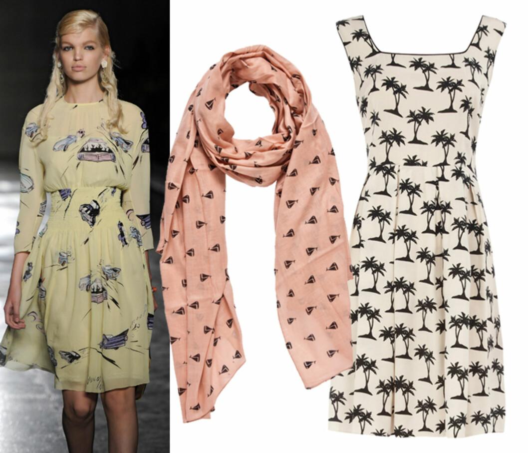 ENKLE PRINTS: Den naive mønstertrenden, som sett hos Prada i vår, blir også stor i 2013. Pudderrosa skjerf (kr.130/Pieces) og søt kjole med palmer (ca kr.935/Dorothyperkins.com). Foto: All Over Press/Produsentene