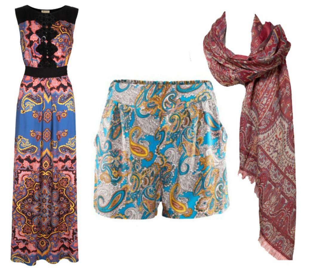 3 PAISLEYKJØP: Maxikjole (kr.2199/Monsoon), shorts (kr.149/H&M) og skjerf (kr.599/Zara). Foto: Produsentene