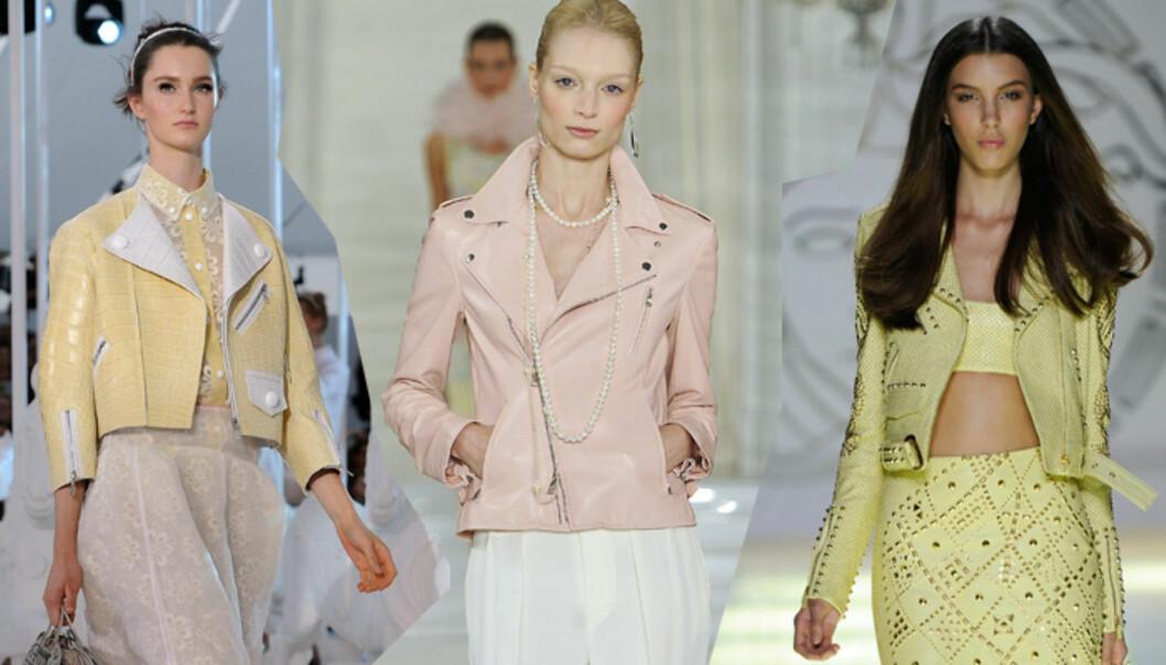 <strong>MC-BABE:</strong> (F.v) Louis Vuitton, Ralph Lauren og Versace går alle for lyse bikerjakker i vår. Foto: All Over Press