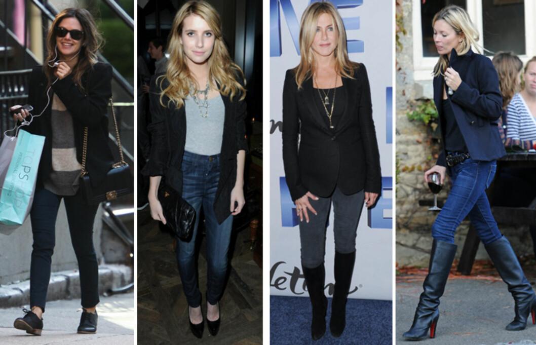 <strong>DENIM:</strong> Blazer + jeans er en uslåelig hverdagskombinasjon. (F.v) Rachel Bilson, Emma Roberts, Jennifer Aniston og Kate Moss. Foto: All Over Press
