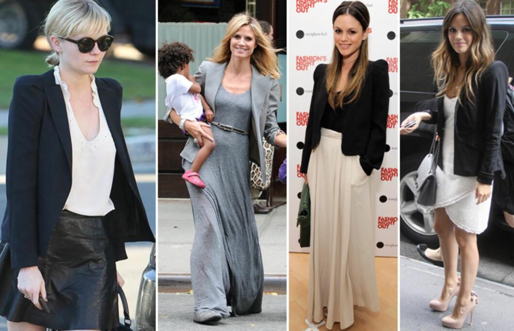 <strong>KLER ALLE TYPER:</strong> Blazeren kan brukes til både lange og korte kjoler og skjørt. Fra venstre: Kirsten Dunst, Heidi Klum og Rachel Bilson i fotsidt skjørt og knelang hvit kjole. Foto: All Over Press