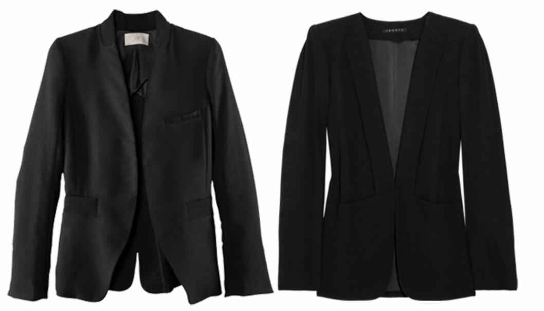 <strong>BUDSJETT OG LUKSUS:</strong> Har du ikke en blazer i garderoben fra før, kan du trygt kjøpe deg en. Det er nemlig den perfekte jakken - og pene modeller finner du i forskjellige prisklasser. Blazere fra H&M (kr.599/hm.com) og fra Theory (ca kr.5220/Net-a-porter.com). Foto: Produsentene