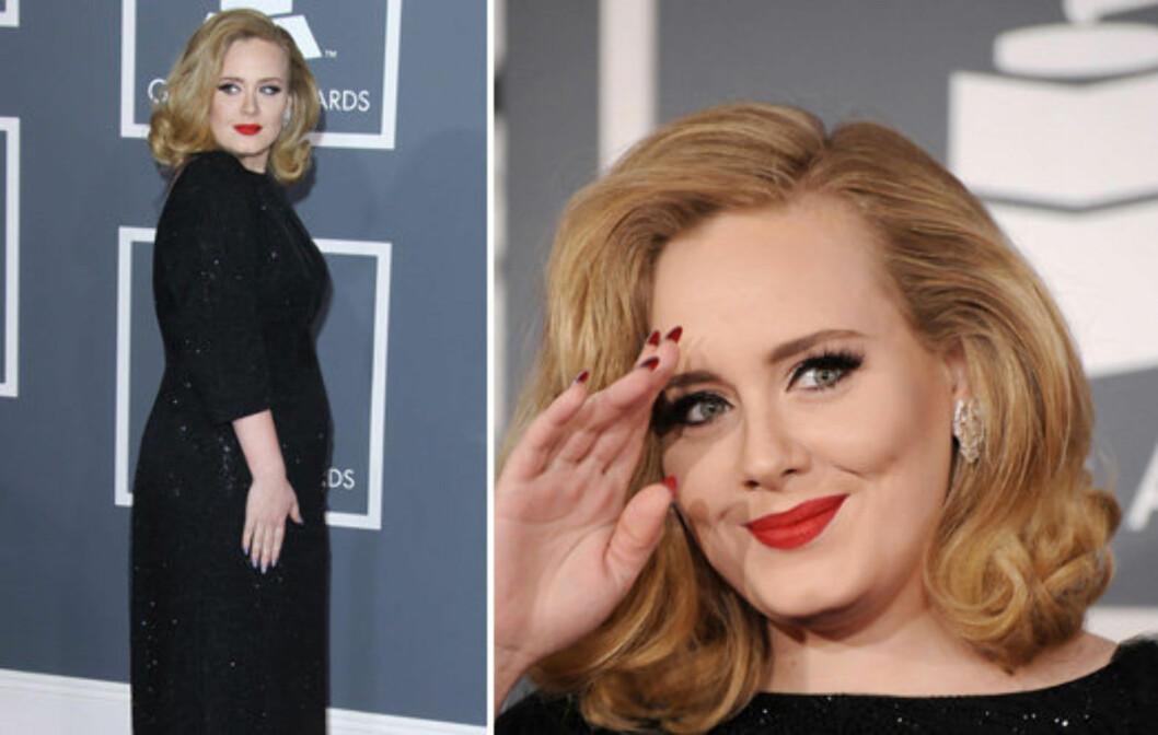 KVELDENS DRONNING: Adele tok hjem seks priser og strålte både på den røde løperen og på scenen.  Foto: All Over Press
