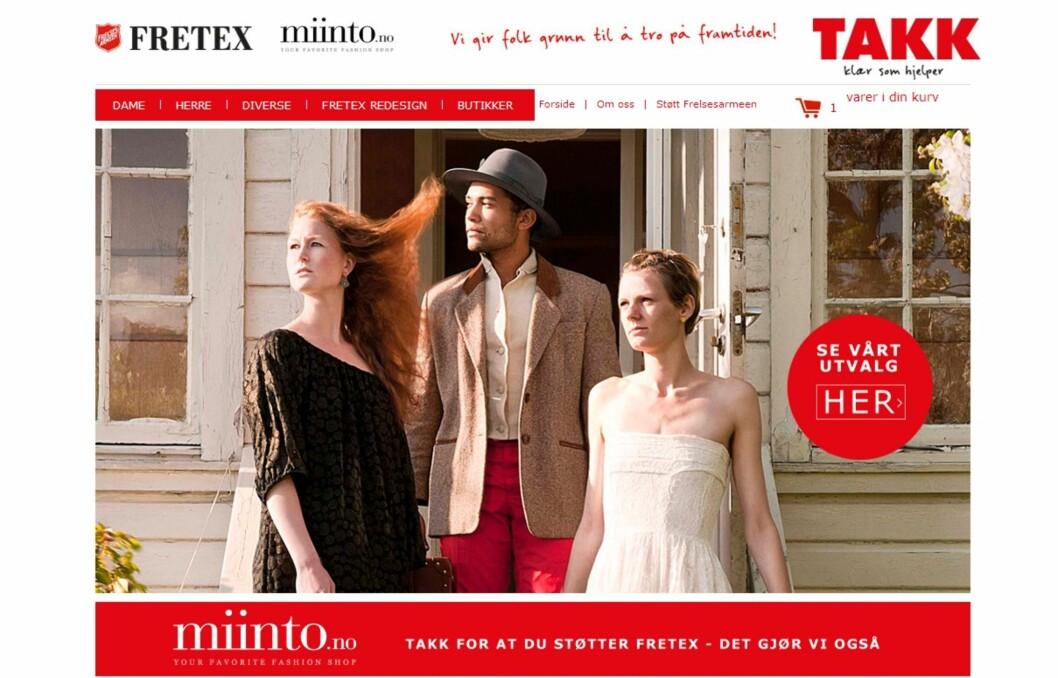 STØRSTE: Fretex nettbutikk er landets største bruktbutikk på nett. Du kan finne mye skatter, både for dame og herre. (Skjermdump fra nettsiden). Foto: miinto.no/fretex/