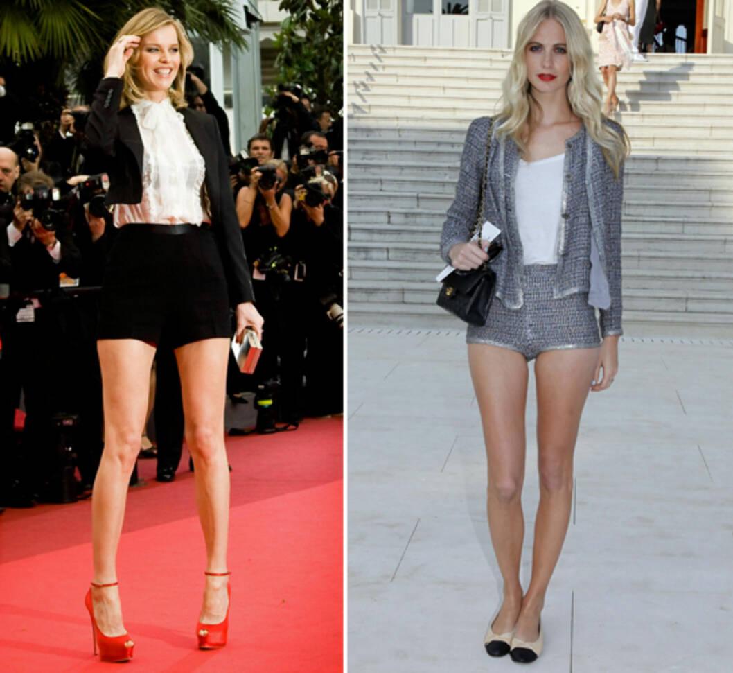 KORT NEDE, LANGT OPPE: Modellene Eva Herzigova og Poppy Delevigne balanserer den korte shortsen med langermede jakker. Foto: All Over Press