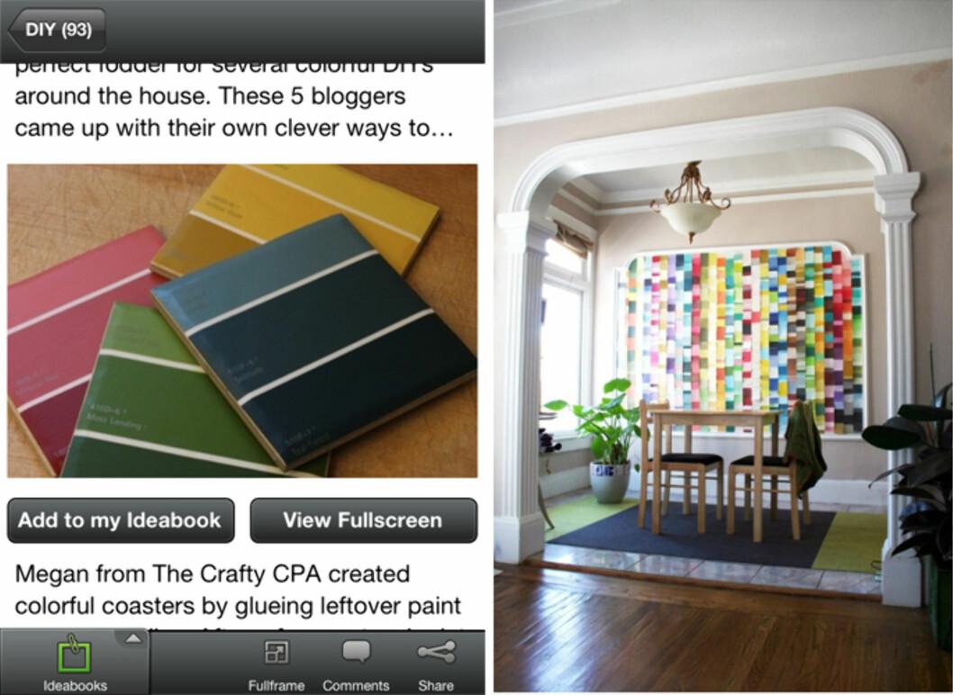 GODE IDEER: Mange fargeprøver liggende? Lag et kunstverk av det. Bare én av mange gode gjør-det-selv-ideer.