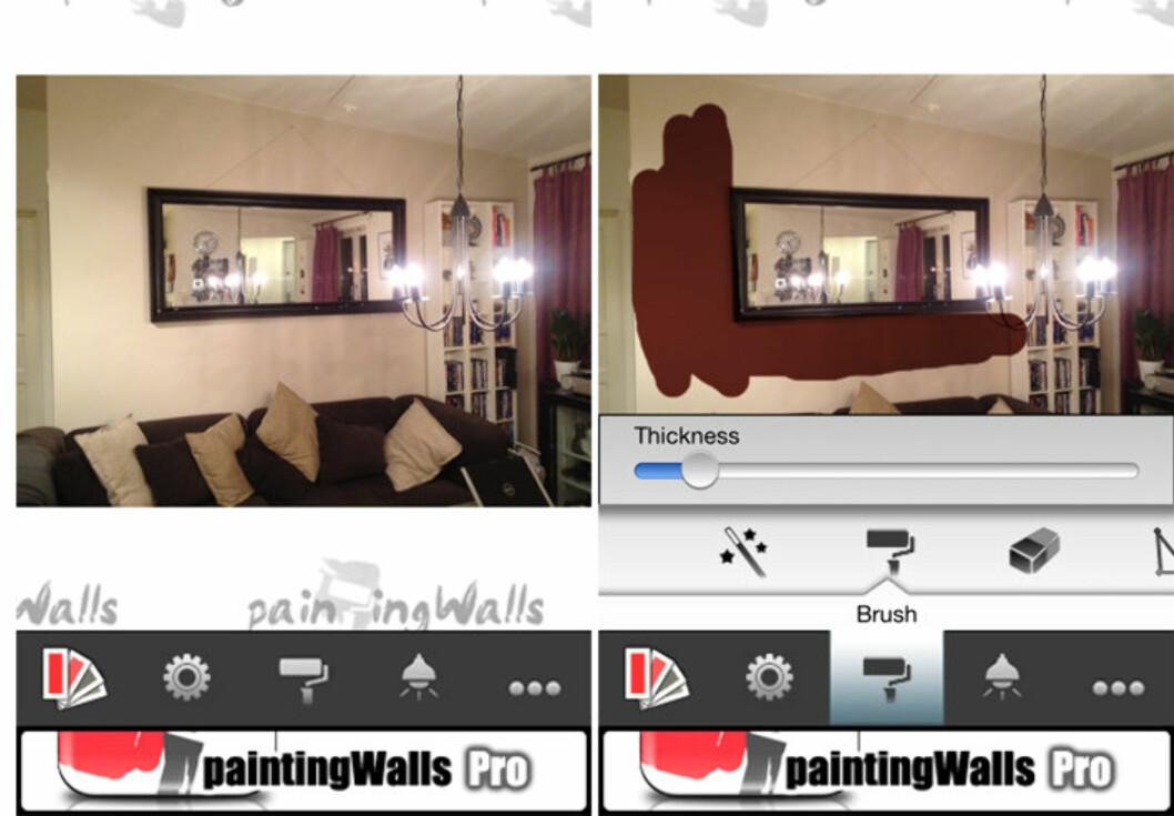 GODE VERKTØY: Du får dekket veggen ganske nøyaktig med appens verktøy.