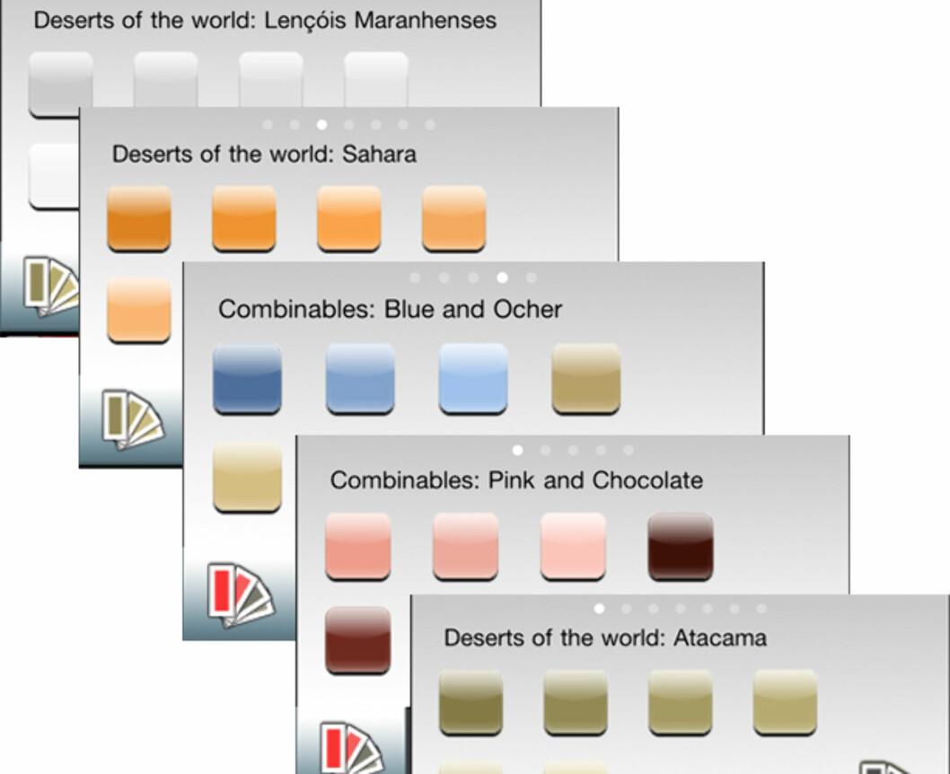 FARGEKART: Noen av fargene du kan velge i. Ønsker du enda flere, kan du oppgradere til pro-versjonen.