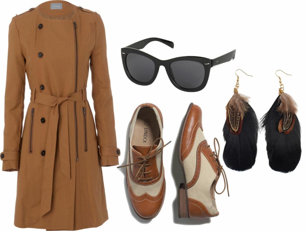 HERREINSPIRERT: Kamlefarget frakk med glidelåser (kr 2000, Samsøe Samsøe), sorte lett skrp solbriller (kr 80, Lindex), herreinspirerte brogue-sko (kr 300, Lindex) og fjærøredobber (kr 50, Lindex). Foto: Produsenter