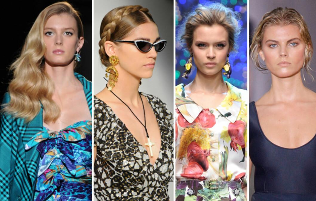 HÅRETE TRENDER: Sideskill, fletter, løse oppsatser og våtlook er noen av hårtrendene for 2012. Se flere lenger ned i saken.  Foto: All Over Press