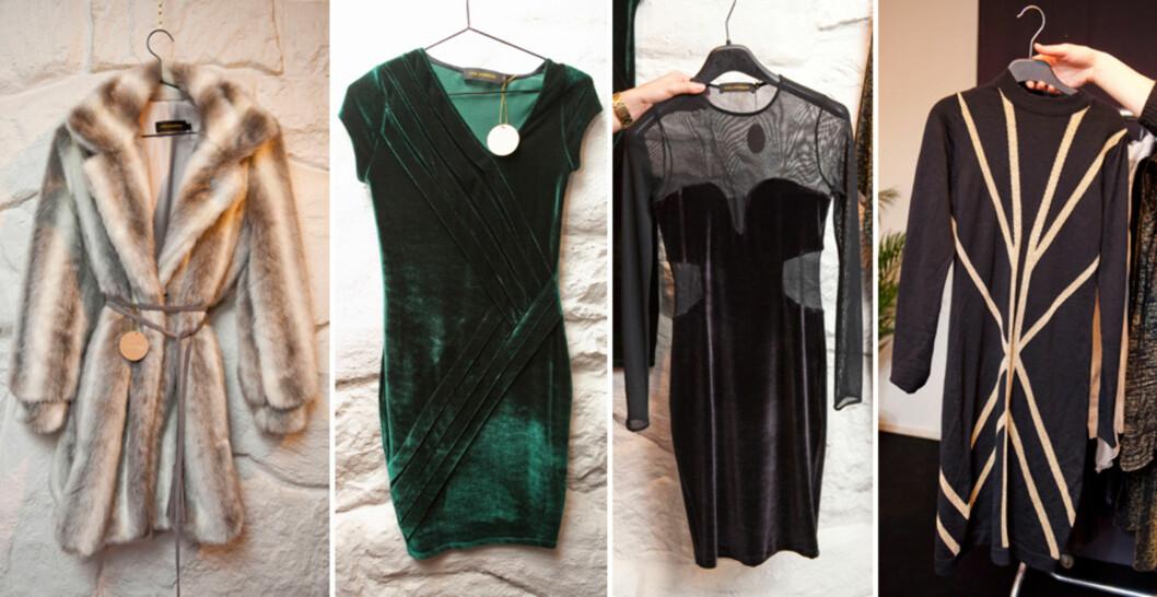 EFFEKTPLAGG: (F.v) Fuskepelskåpe med knytting i livet, flaskegrønn kjole med draperinger i midjen, den lille sorte med chiffonpartier i livet og strikkekjole med kontraststriper som framhever figuren. Foto: Per Ervland