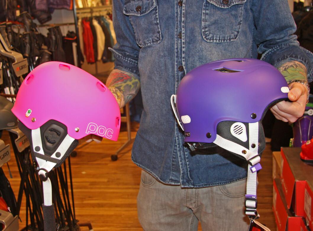 LIKE SIKKERT: Begge disse hjelmene er godkjent etter CE-standard, selv om den til venstre er over 1000 kroner billigere.  Foto: Adéle Cappelen Blystad