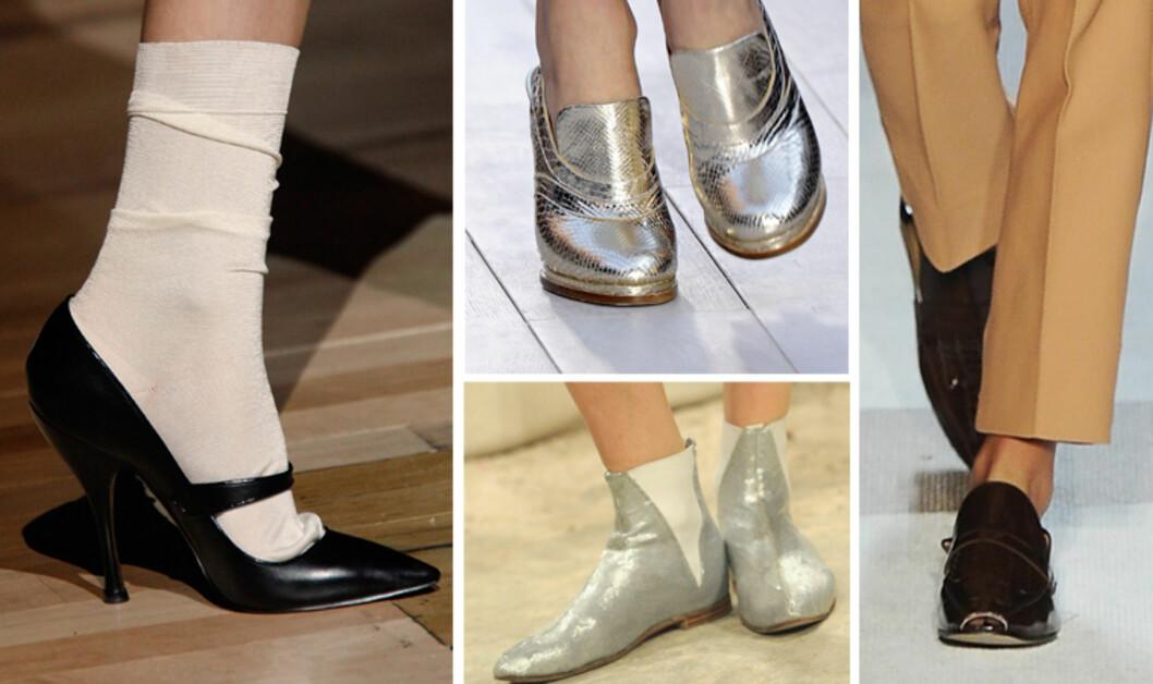 VÅRTRENDER: Spiss tå hos Marc Jacobs, reptilmønstrede metalliske sko fra Chloé (oppe i midten), ankelboots med elastikk fra Chanel (under i midten) og herresko i lakk fra Diane Von Furstenberg (t.h). Foto: All Over Press