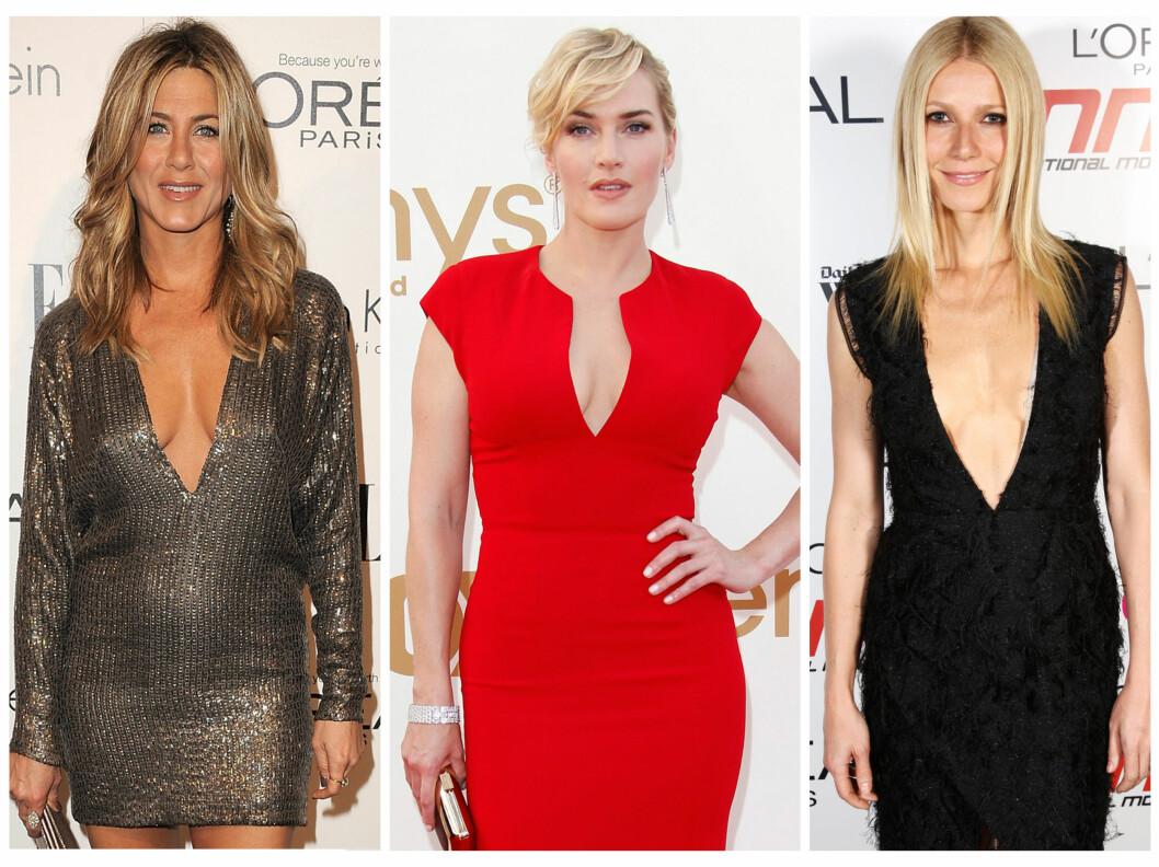 <strong>STJERNETREND:</strong> Også stjerner som Jennifer Aniston, Kate Winslet og Gwyneth Paltrow har slengt seg på trenden med dyp utringning det siste året.