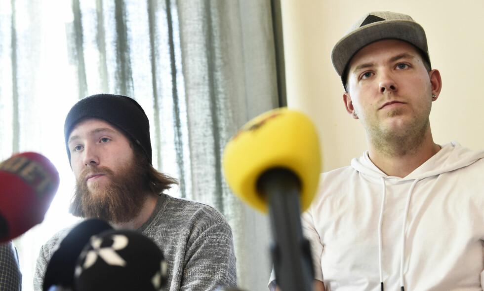 BLE UTPEKT: Robin Dahlén (24) og Christian Karlsson (26) var fem og sju år da de fikk skylden for å ta livet av Kevin Hjalmarsson (4) i Arvika i Sverige. FOTO: TT / NTB Scanpix